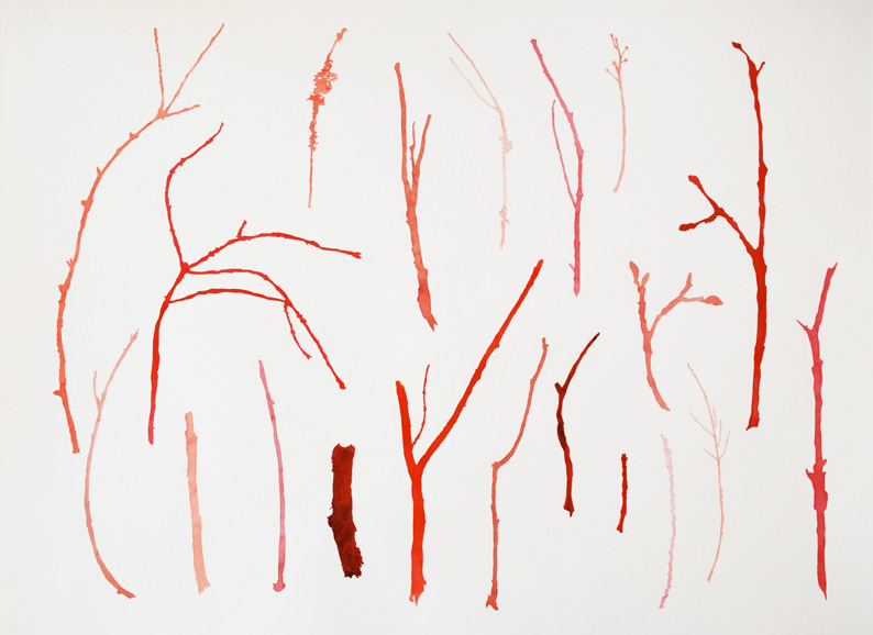 Red Branches Silhouette Watercolor Painting